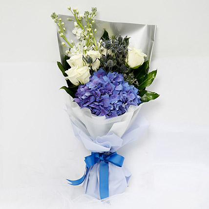 Elegant Bouquet Of Blues and Whites: