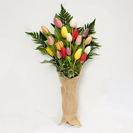 Jute Wrapped 20 Tulips Bouquet: