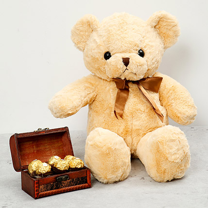 Brown Teddy Bear and Wooden Chocolate Box: