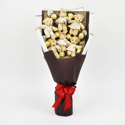 Chocolates and Teddy Bear Heart Shaped Bouquet: Kids Gift Ideas