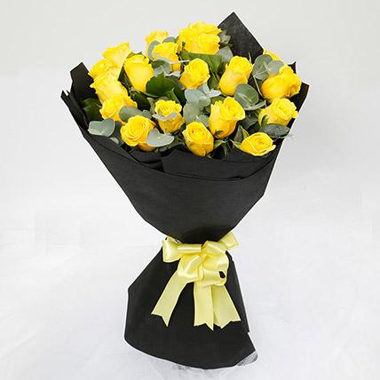 Sunshine 20 Yellow Roses Bouquet: Farewell Gift Ideas
