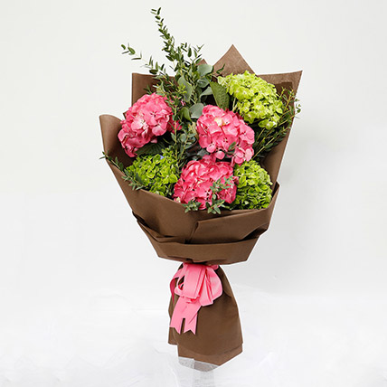Pink and Green Hydrangea Bouquet: