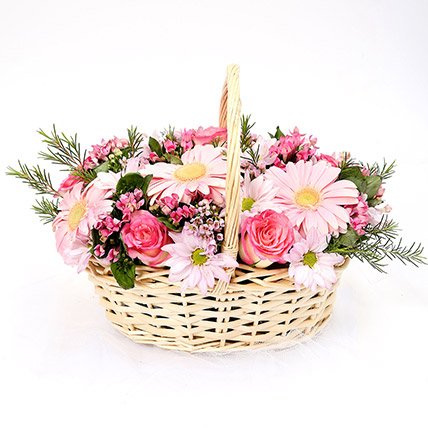 Mixed Basket Of Chrysanthemums and Roses: Basket Arrangements