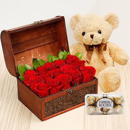 Treasure Hunt Combo: Anniversary Flowers & Chocolates