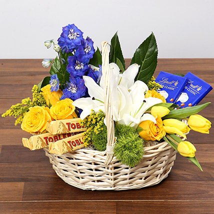 Yellow and Blue Floral Basket With Chocolates: Birthday Basket Arrangements