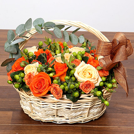 Peach and Orange Rose Basket: Anniversary Basket Arrangements