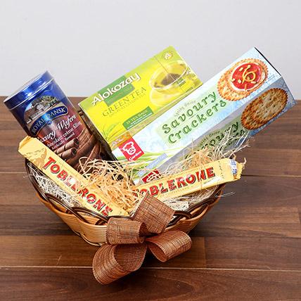 Green Tea and Munchies Basket: Eid Hampers