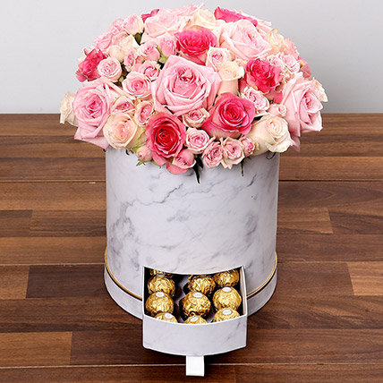 Stylish Box Of Pink Roses and Chocolates: Rose Day Flowers & Chocolates