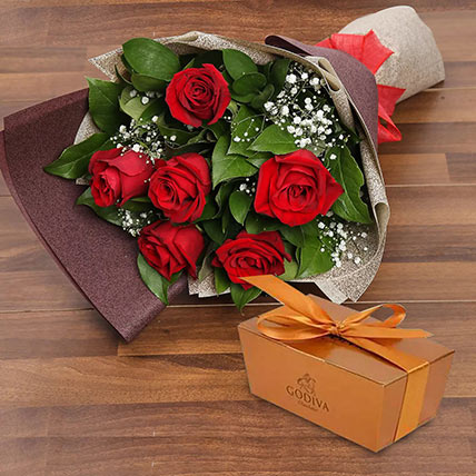 6 Red Roses and Godiva Chocolate Combo: Anniversary Flowers & Chocolates