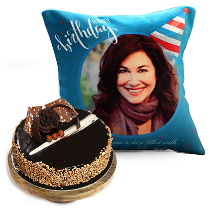 Birthday Cushion and Rose Noir Cake: Personalised Gifts for Sister