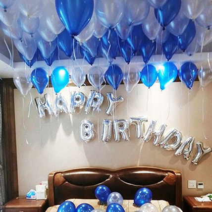 Happy Birthday Blue and Silver Balloon Decor: Birthday Gift For Husband