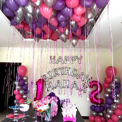 Balloons & Floral Birthday Surprise: Anniversary Gifts