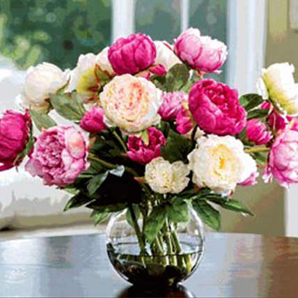 Artificial Mix Coloured Peonies:
