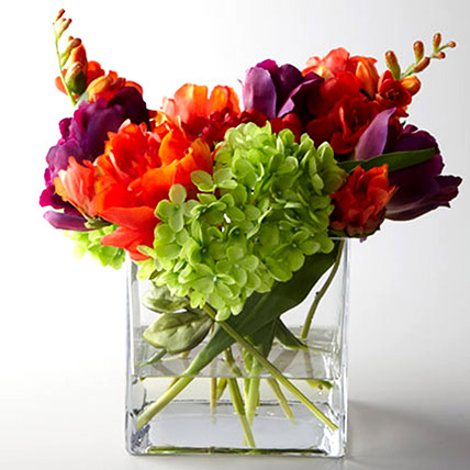 Artificial Mixed Flowers In Square Glass Vase: Artificial Flowers Dubai