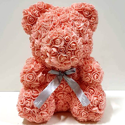 Artificial Roses Peach Teddy: Rose Day Gifts