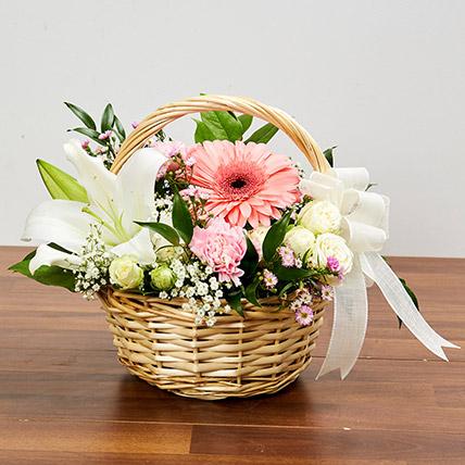 Basket Arrangement Of Gorgeous Flowers: Birthday Basket Arrangements