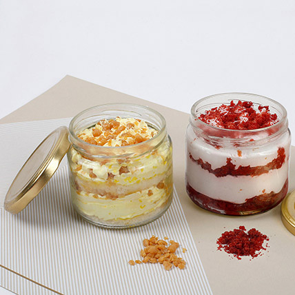 Butterscotch and Red Velvet Jar Cakes: Cakes for Husband