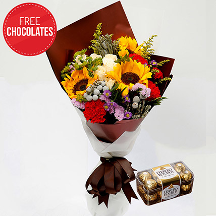 Happy Flower Bouquet and Free Chocolates: