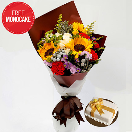 Happy Flower Bouquet and Free Mono Cake: Sunflowers Bouquets