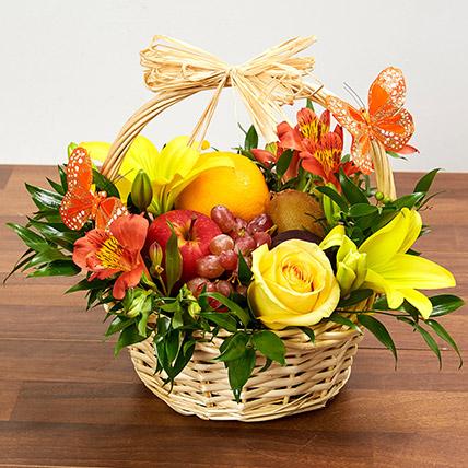 Basket Arrangement Of Fresh Flowers and Fruits: Birthday Basket Arrangements