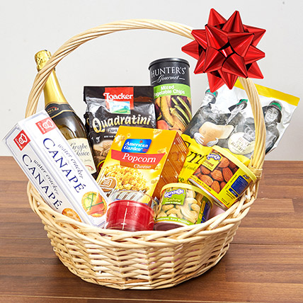 Sparkling Juice and Snacks Basket: Bakery
