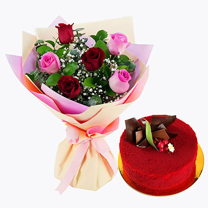 Pink and Red Roses with Red Velvet Cake: