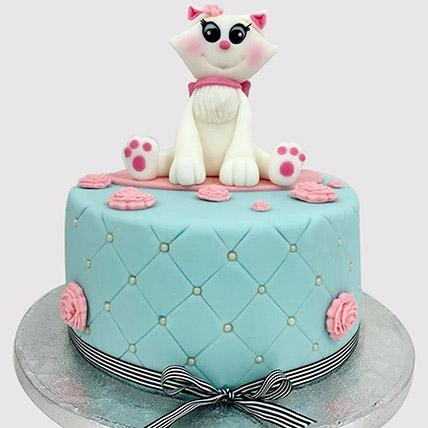 Designer Cat Fondant Cake: Cat Birthday Cakes