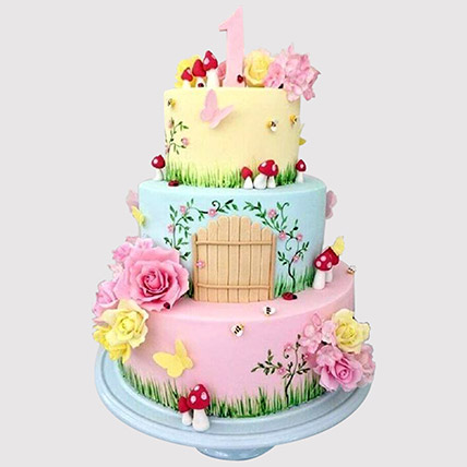 3 Tier Magical Land Cake: Tinkerbell Cakes