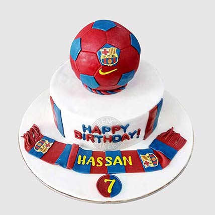 FC Barcelona Theme Cake: Football Theme Cake