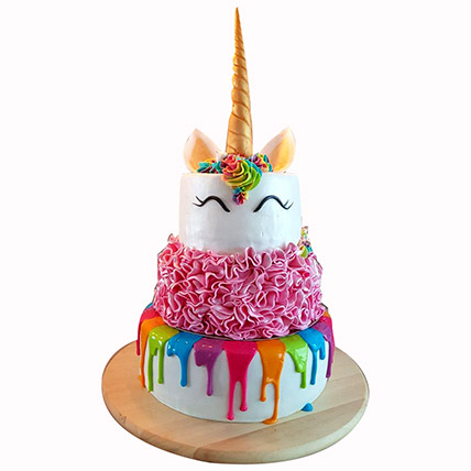 Happy Unicorn 3 Layered Cake:
