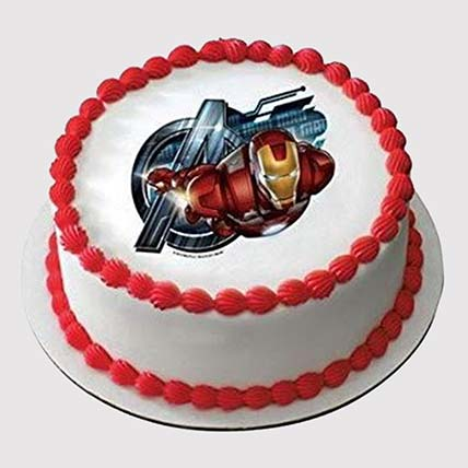 Iron Man Round Photo Cake: Iron Man Birthday Cakes