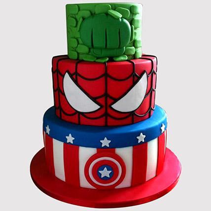 Three Layered Avengers Cake: Avengers Theme Cake