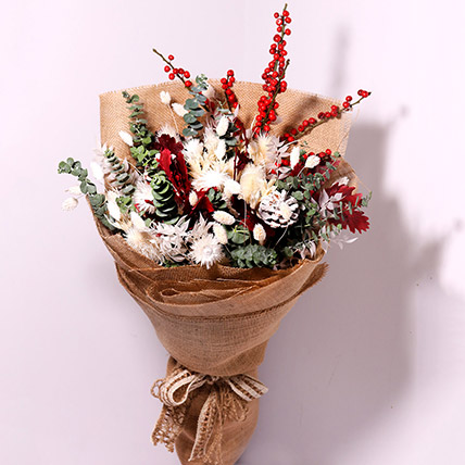 Mixed Flowers Jute Wrapped: Christmas Flowers to Umm Al Quwain