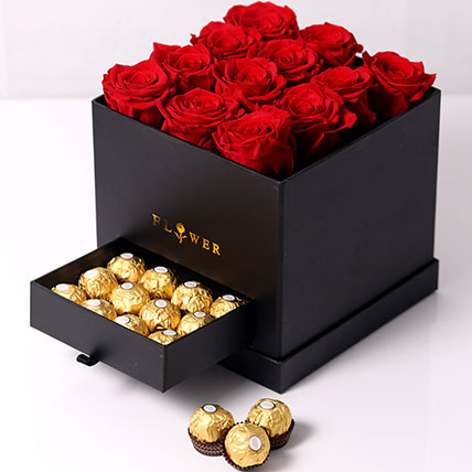 Forever Red Roses With Rochers In Box: Valentine Day Gift Hampers to Ajman