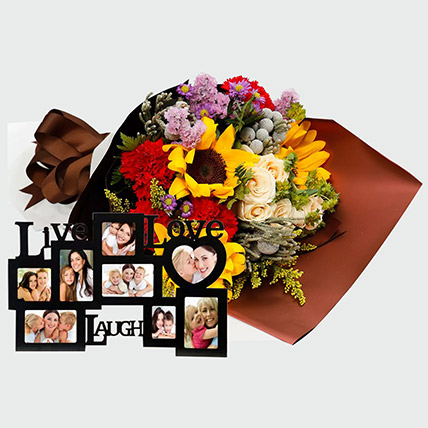 Flower Bouquet and Personalised Frame: