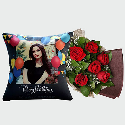 Red Rose Bouquet and Personalised Cushion: