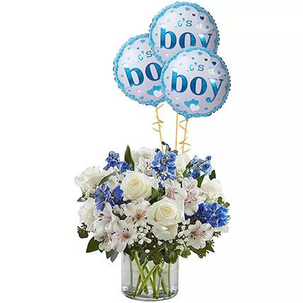 Blue and White Flower Arrangement With Balloons: Helium Balloons Dubai