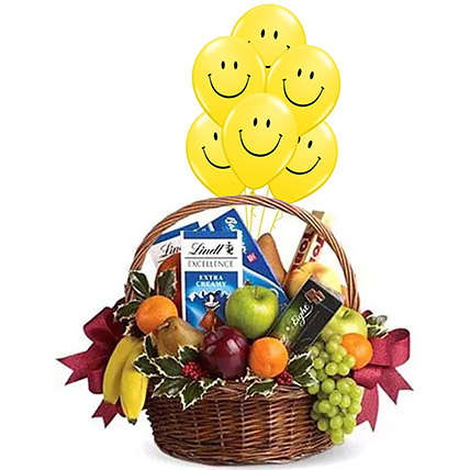 Fruitful Hamper With Smiley Balloons: