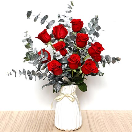 Ravishing Red Roses In Ceramic Pot: Valentine Day Flowers to Al Ain