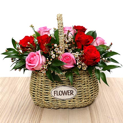 Red and Pink Roses Mini Basket: Valentine's Day Flowers