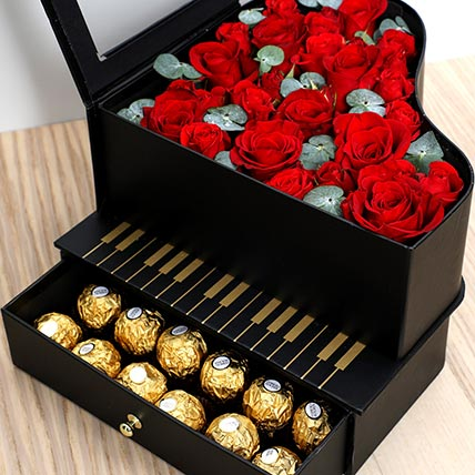 Roses and Chocolates Black Heart Box: Valentine Gift For Husband