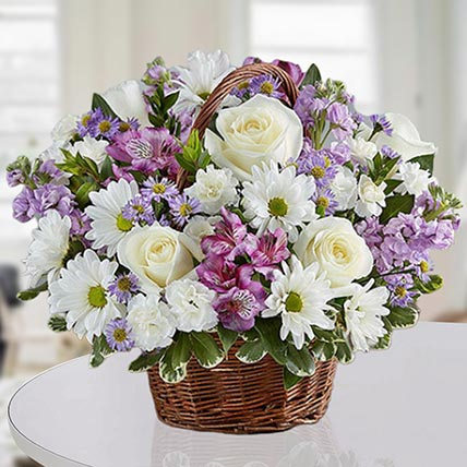 Basket Of Royal Flowers: Birthday Basket Arrangements