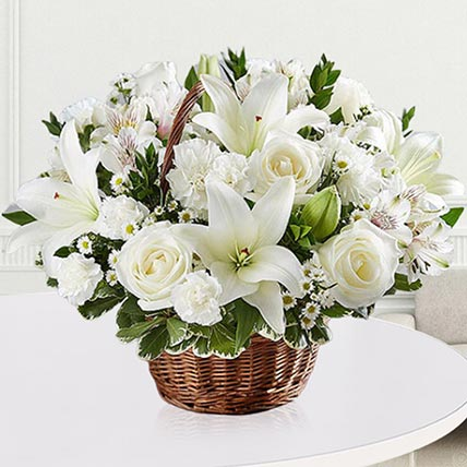 Elegant White Floral Basket: Flower Wreath