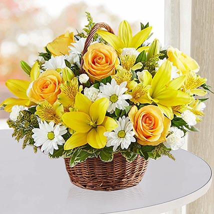 Sunshine Flower Basket: Birthday Basket Arrangements