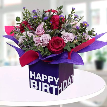 Mixed Flowers In Square Glass Vase: Birthday Gifts for Boss