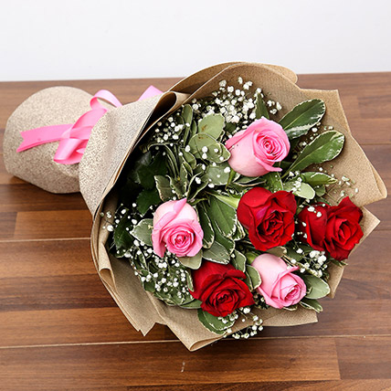 Pink and Red Roses Bouquet: Valentine Flower in Sharjah