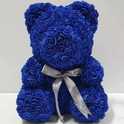 Blue Artificial Roses Teddy Bear: Valentines Gifts For Men