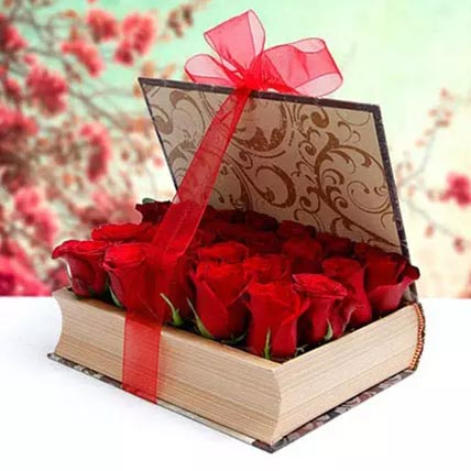 Book Shape Roses Arrangement: Valentines Gifts For Her
