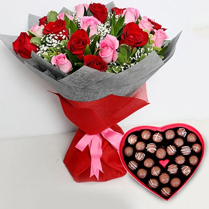 Pink and Red Roses Bouquet with Heartshaped Chocolates: Flowers Shop Dubai