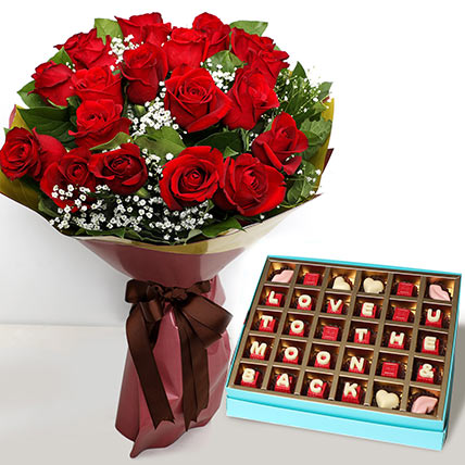 20 Red Roses Bouquet with Valentines Chocolates: Valentine Day Gift Hampers to Ras Al Khaimah